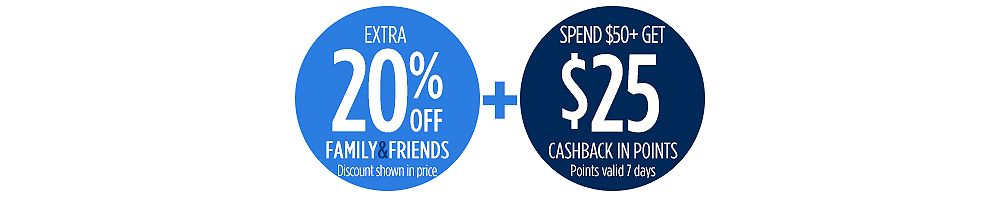Extra 20% off + Spend $50+, get $25 CASHBACK in points