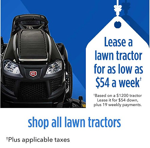 Lease a lawn tractors for as low as $54 a week | Based on a $1200 tractor Lease it for $54 down, plus 19 weekly payments, plus applicable taxes | shop all tractors
