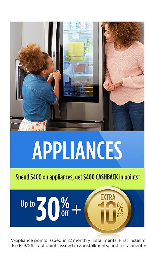 Up to 30% off appliances plus extra 10% off