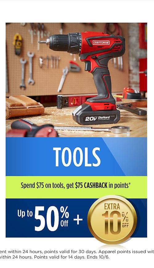 Up to 50% off tools plus extra 10% off