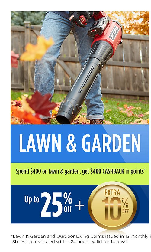 Up to 25% off lawn and garden plus extra 10% off