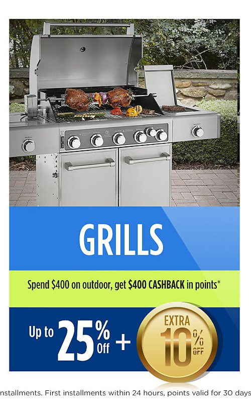 Up to 25% off grills plus extra 10% off