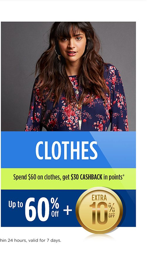 Up to 60% off clothing plus extra 10% off