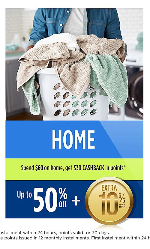 Up to 50% off home plus extra 10% off