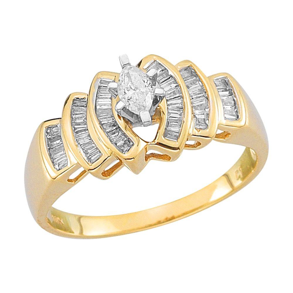 10Kt Yellow Gold Genuine 1/2Cttw Diamond Ring