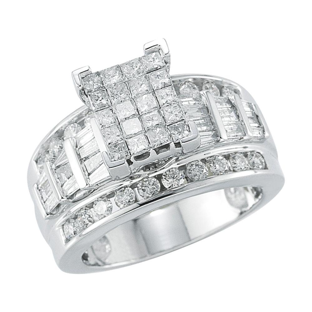 10Kt White Gold Genuine 2.00Ct. Tw. Diamond Bridal                            Ring