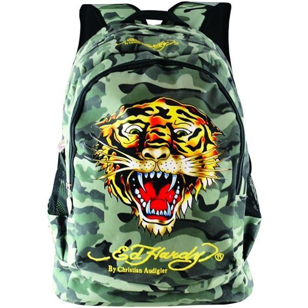Ed Hardy Bruce Gray Camo Tiger Backpack