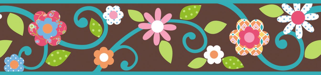 RoomMates Scroll Floral Peel & Stick Border - Brown/Teal