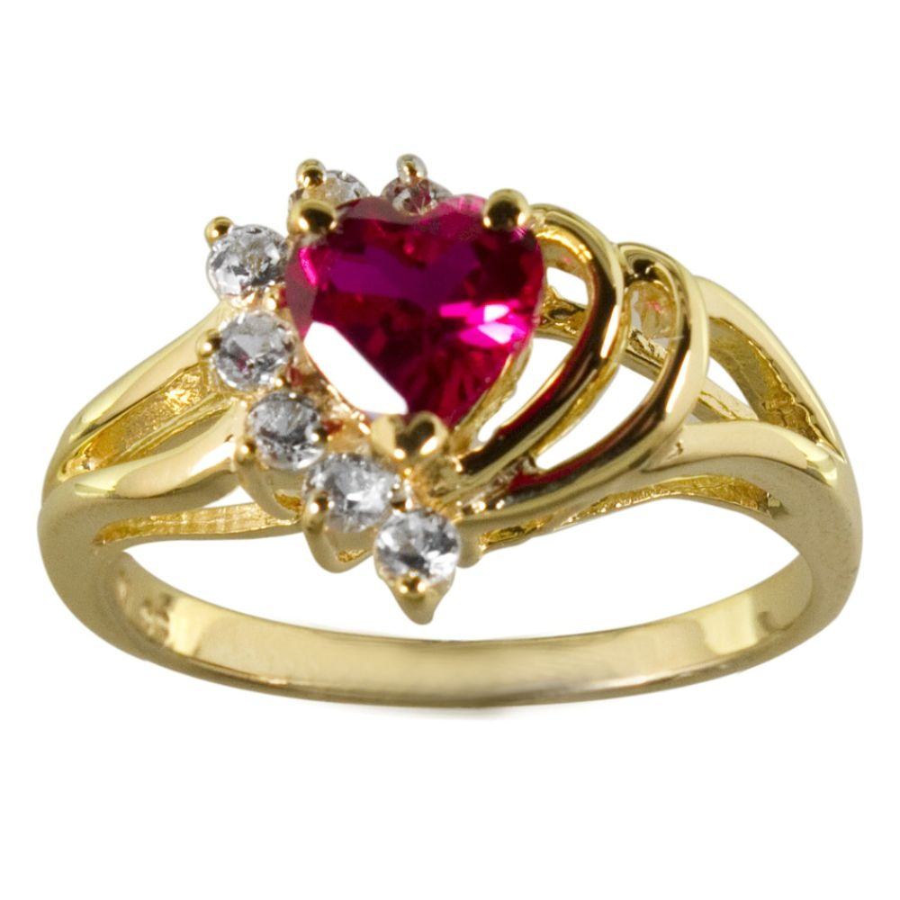 Lab Created Ruby and White Sapphire Heart Ring