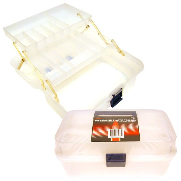 Trademark Tools Folding Transparent Plastic Tool Box