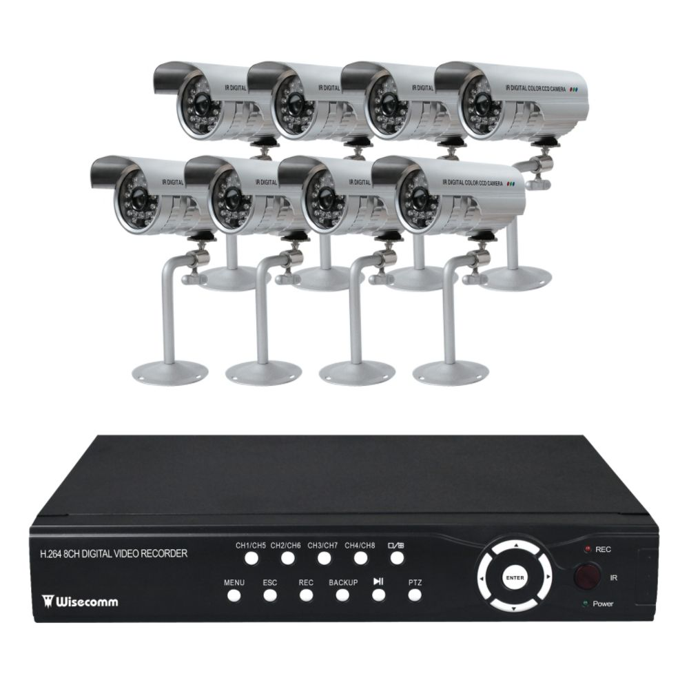Clover H.264 DVR Bundle System - 8ch DVR with 8 Cameras