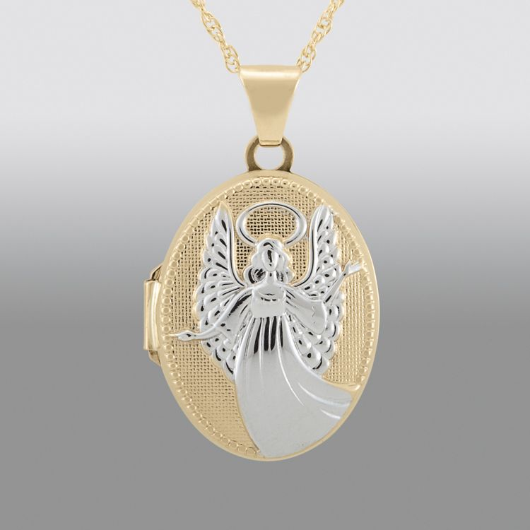 10k gold angel locket pendant