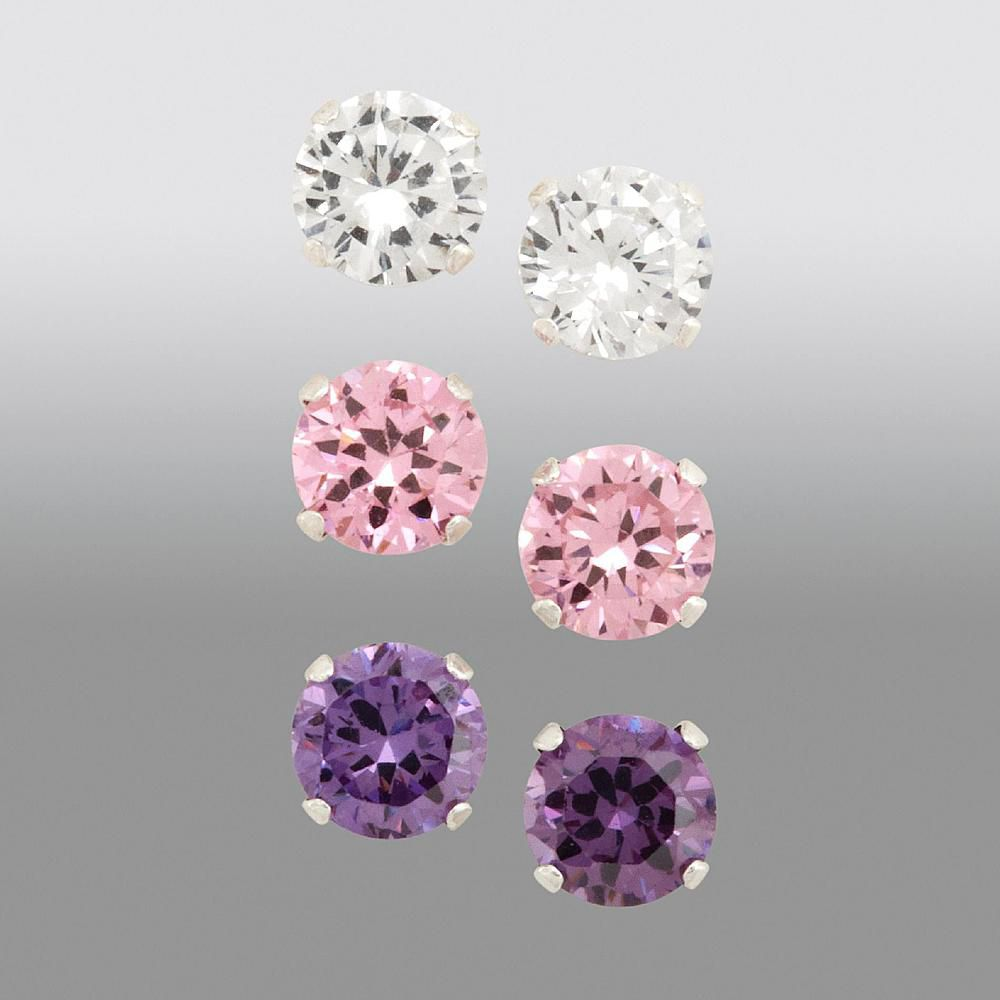 Girls 3-Pair, 5MM, White/Pink/Amethyst Cubic Zirconia Earring Set in SS