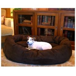 Majestic Pet 52in Bagel Dog Pet Bed Suede Chocolate