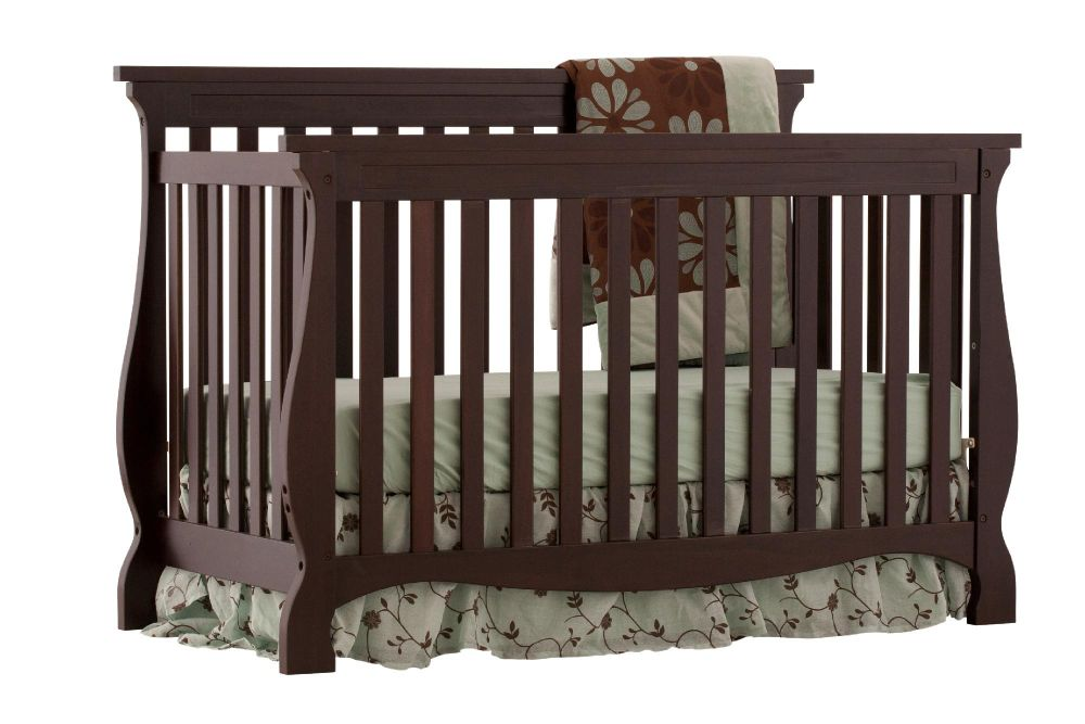 Stork Craft Carrara 4 in 1 Fixed Side Convertible Crib - Espresso