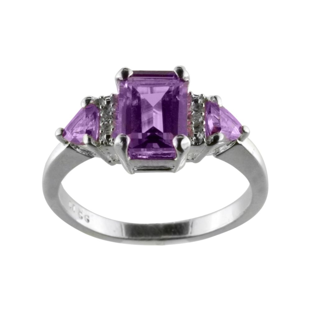 Amethyst and Diamond Accent Ring Sterling Silver