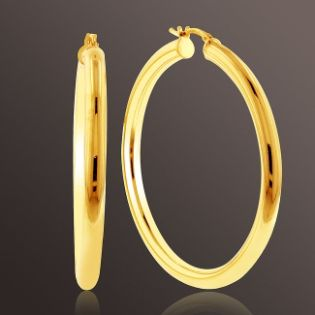 Romanza  Med Tube Hoop Earrings set in Gold over Bronze