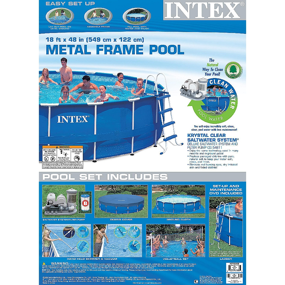 18 X 48 Metal Frame Pool Set Intex Toys & Games Pools & Accessories