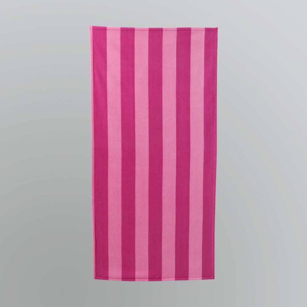 Essential Summer Striped Beach Towel - Pink