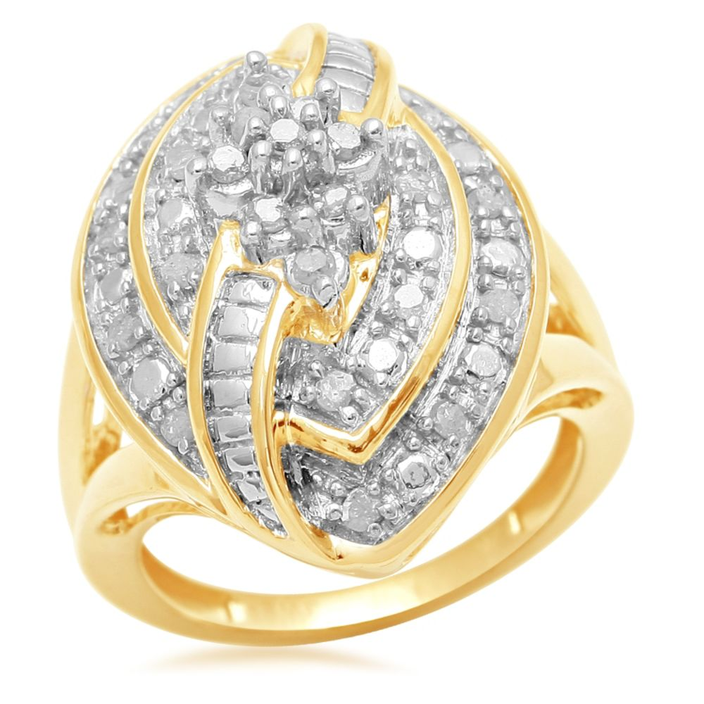 1/2 cttw Gold Over Brass Marquise Diamond Ring