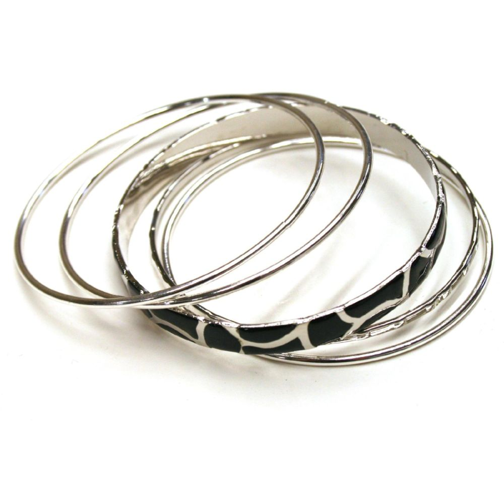 Sofia by Sofia Vergara Metallic Bangles Fashion Jewelry Silver/Black