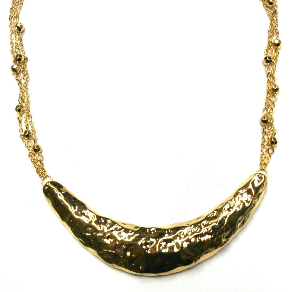 Sofia by Sofia Vergara Hammered Metal Necklace With Gold Chains