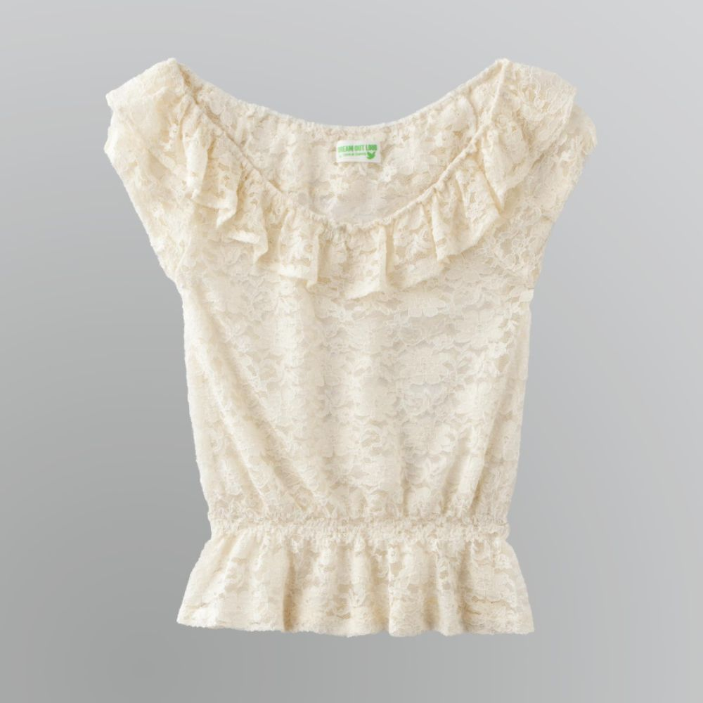 Dream Out Loud by Selena Gomez Junior's All Lace Shirred Blouse $ 10.50