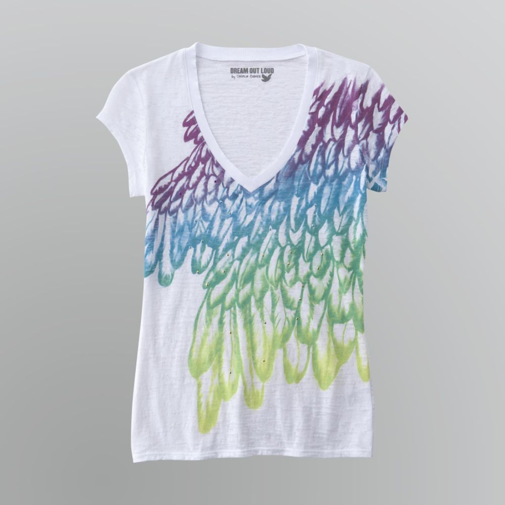 Dream Out Loud by Selena Gomez Junior's Dip Dye T-Shirt - Feathers $ 9.00