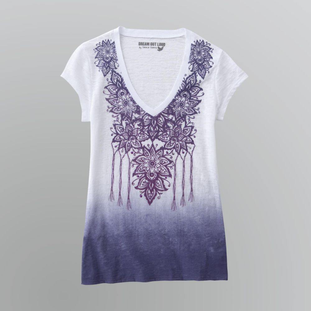 Dream Out Loud by Selena Gomez Junior's Dip Dye T-Shirt - Floral $ 9.00
