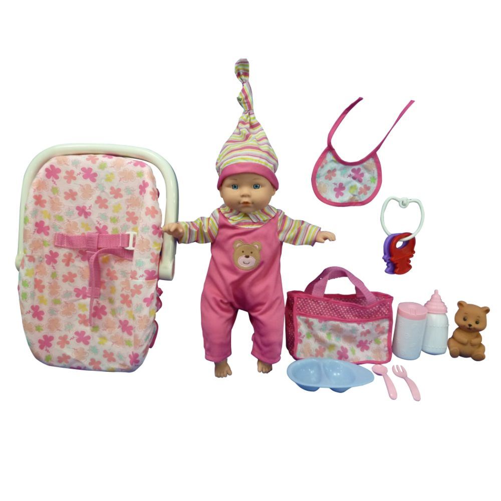 Just Kidz 13IN Baby Doll with Carrier Set