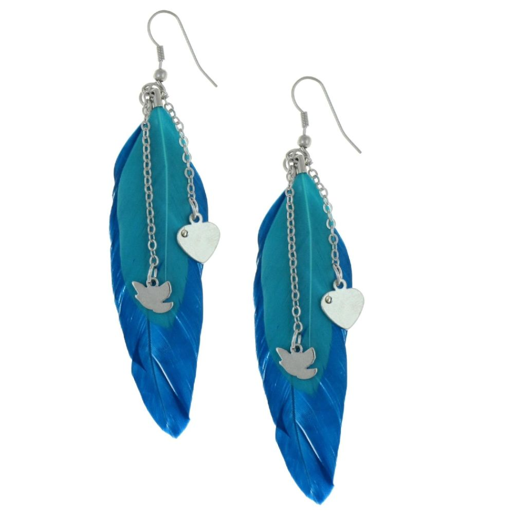 Dream Out Loud by Selena Gomez Double Feathers                                     Heart Combo Earrings Turquoise