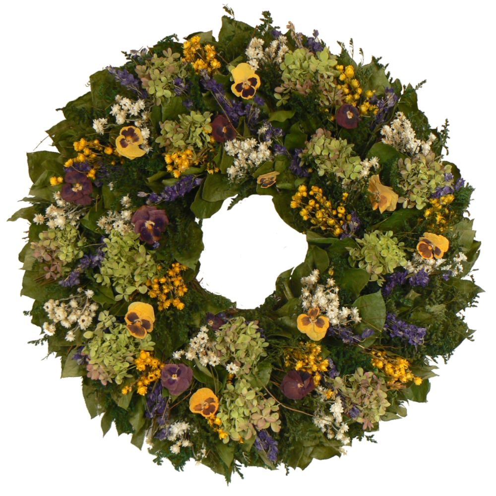 The Christmas Tree Company Pansy Paradise 22 Inch                            Premium Dried Floral Wreath