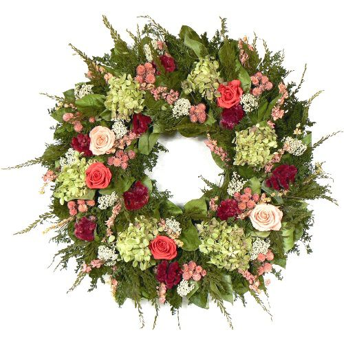 The Christmas Tree Company Ashford Rose 20 Inch                            Premium Dried Floral Wreath