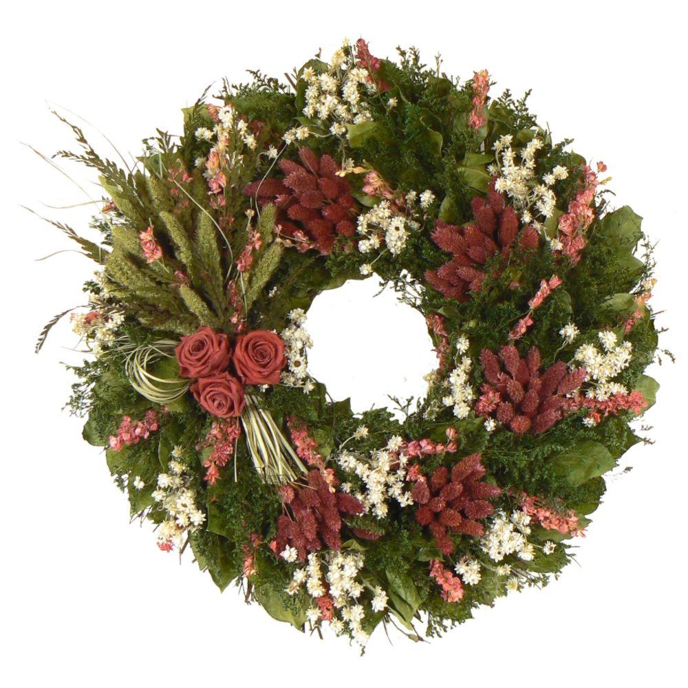 The Christmas Tree Company Crimson Summer 22 Inch                                        Premium Dried Floral Wreath