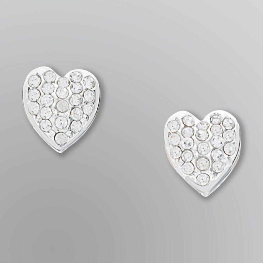 Jaclyn Smith Silvery Rhinestone Heart Stud Earrings