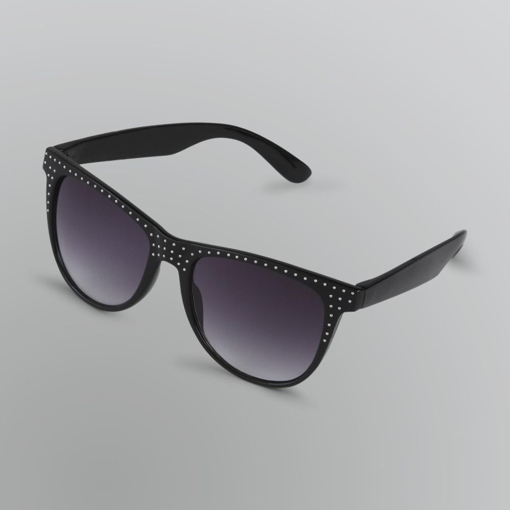 Bongo Women's Black Micro-Stud Retro Sunglasses