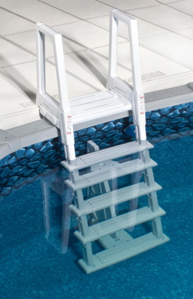 Swim Time White Heavy Duty In-Pool Ladder for Above Ground Swimming Pools