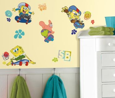 RoomMates  Spongebob Skaters Peel & Stick Wall Decals