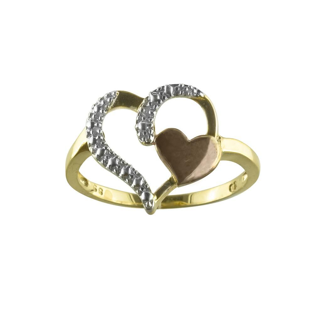 Diamond Accent Heart Ring in 18k Gold over Sterling                            Silver
