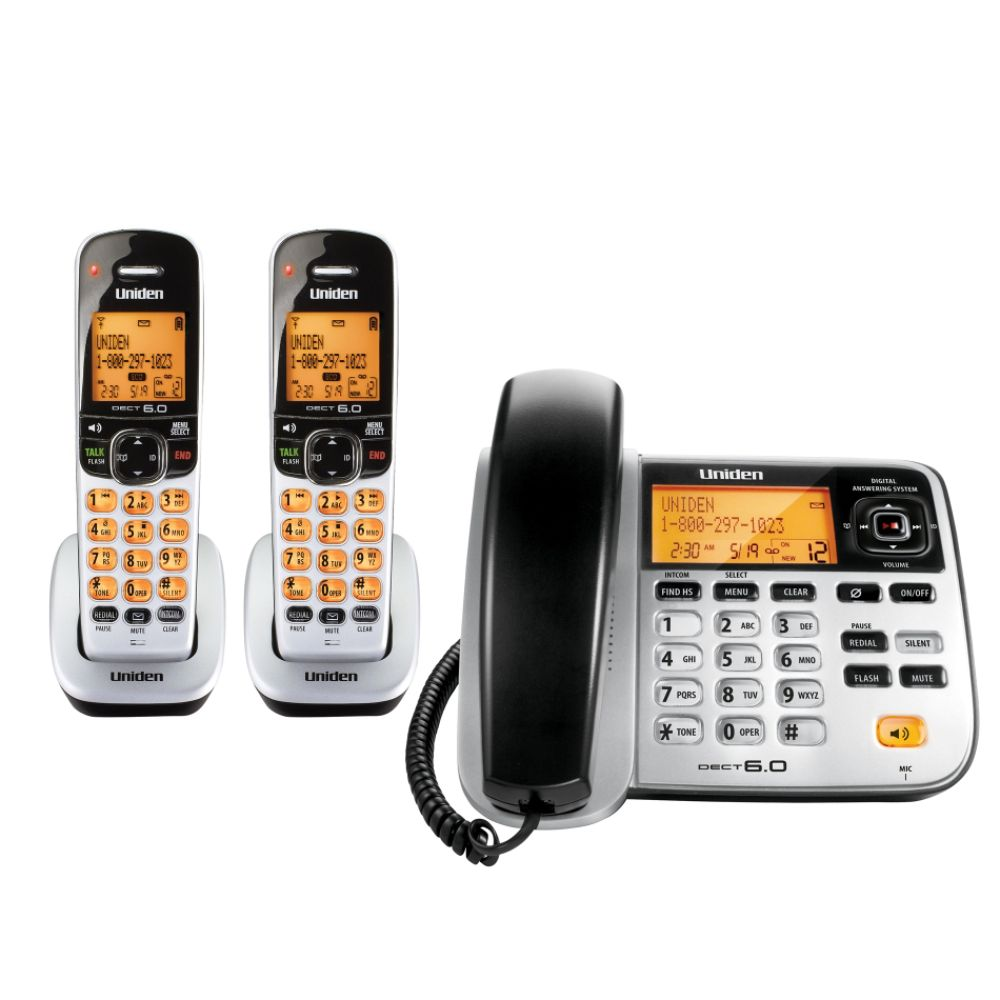 Uniden DECT 6.0 Corded/Cordless Phone w/ 2 Cordless Handsets, Digital Answering System
