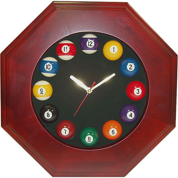 Trademark Octagonal Wood Billiards Quartz Clock