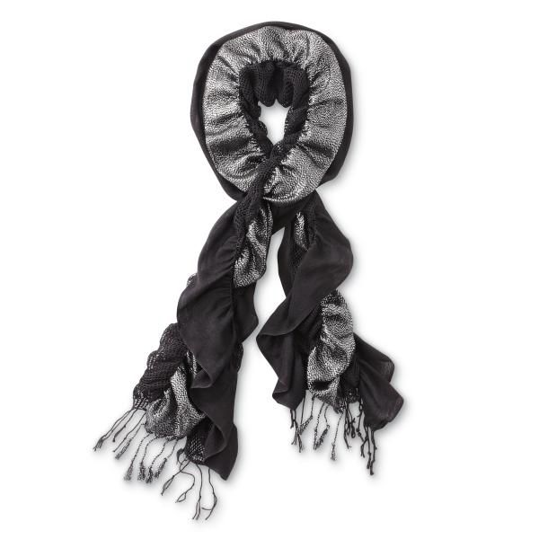 Bongo Scarf Ruched Tasseled Black