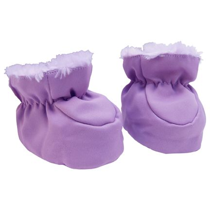 Trend-Lab Baby Booties - Plum and Lilac Velour and Matte Satin