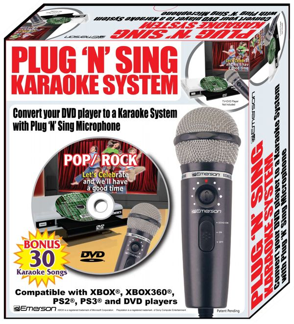 Emerson Plug N Sing Karaoke Microphone with Echo and 30 Pop Karaoke Songs