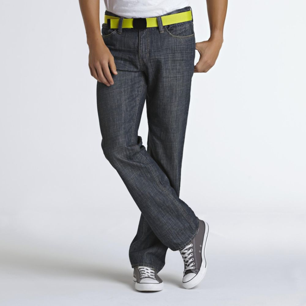 Amplify Young Men's Distressed Jeans with Belt Denim