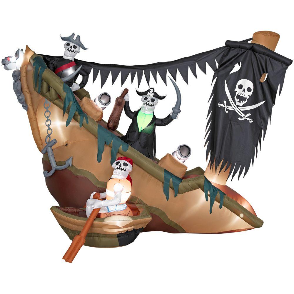 Gemmy Halloween Airblown Skeleton Pirates Shipwreck
