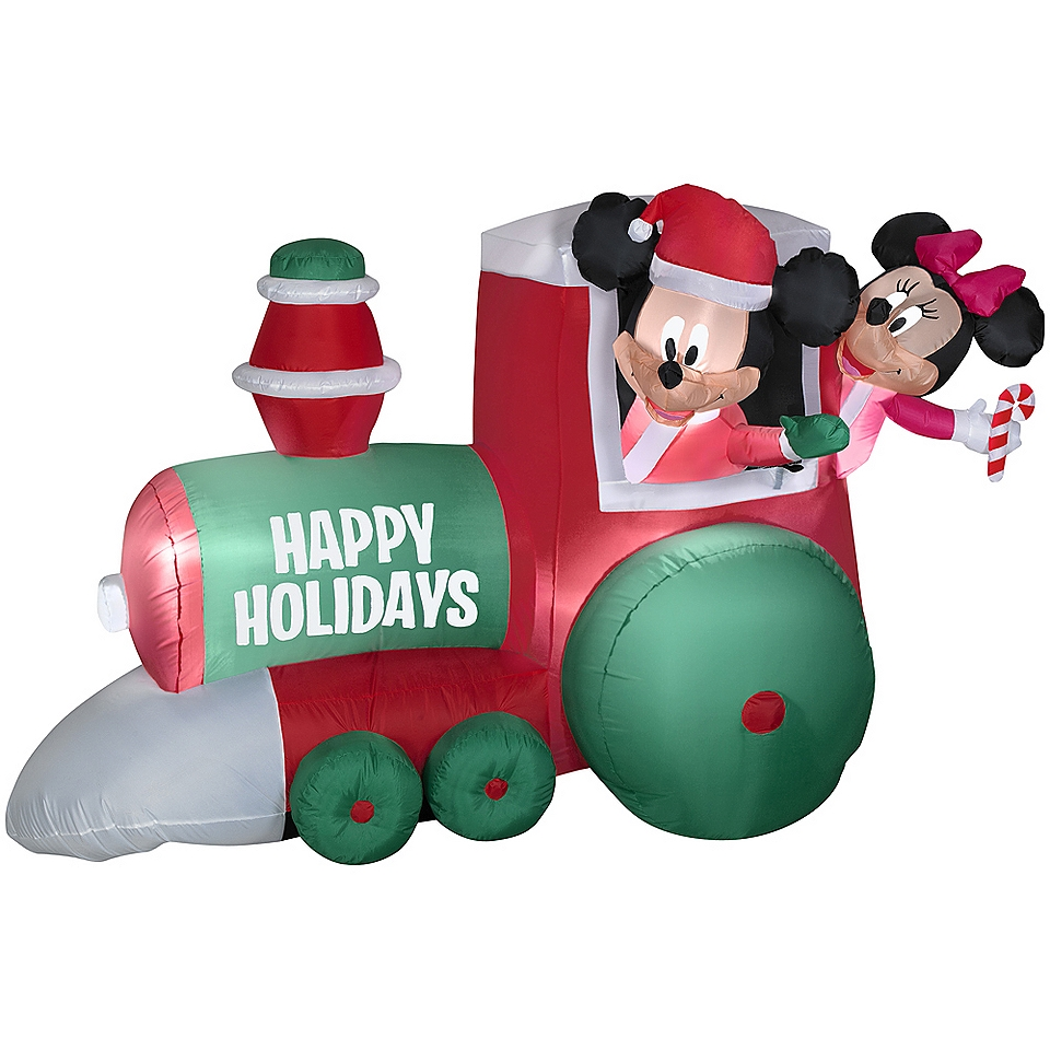 mickey and minnie mouse train christmas inflatable new
