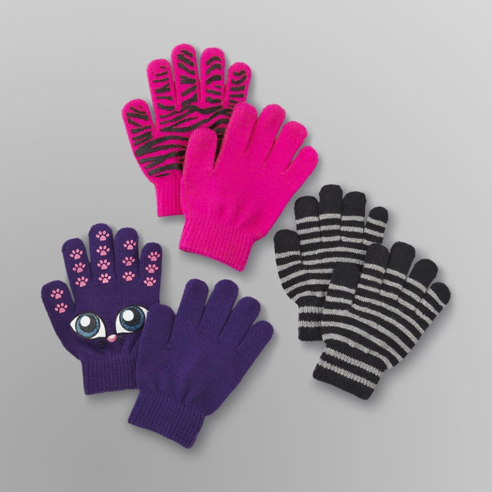 Canyon River Blues 3 Pack Girl's Stretch Gloves - Cat, Zebra & Stripes Multi-color