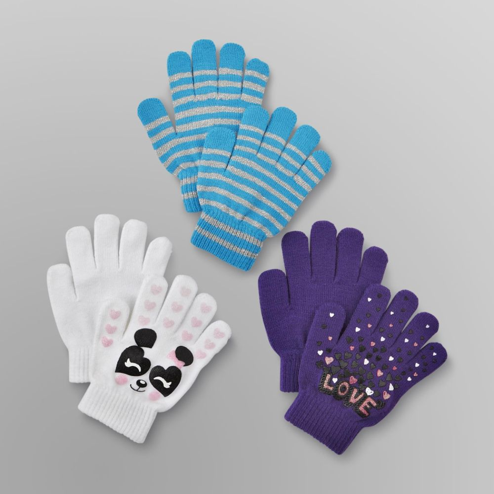 Canyon River Blues 3 Pack Girl's Stretch Gloves - Panda, Love & Stripes Multi-color
