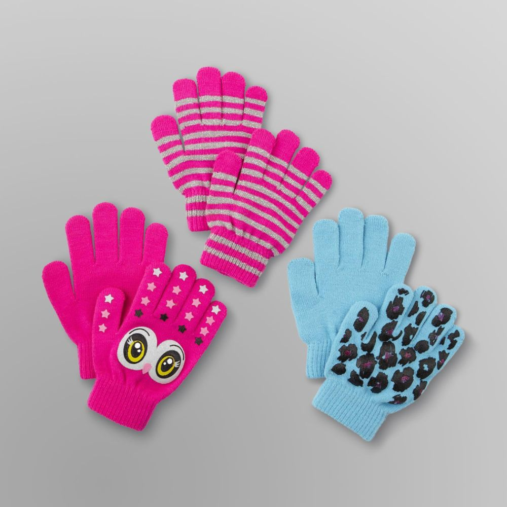 Canyon River Blues 3 Pack Girl's Stretch Gloves - Owl, Leopard & Stripes Multi-color
